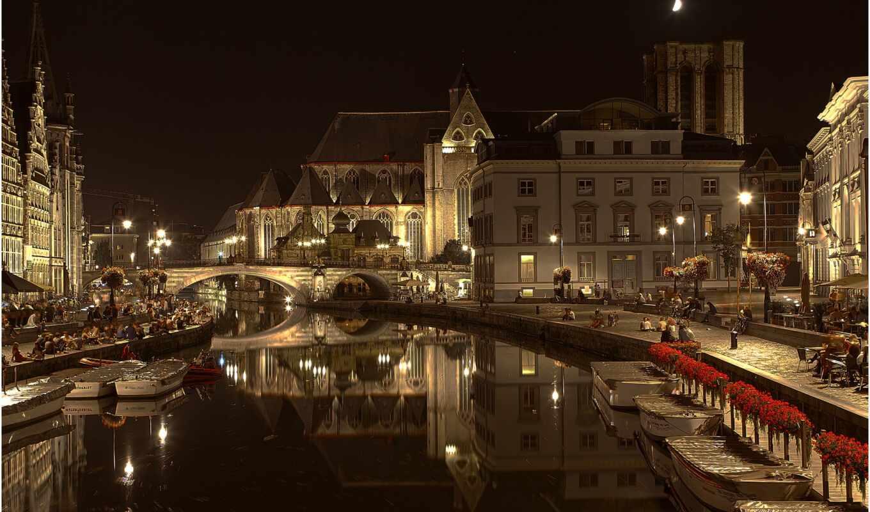 город, gent, ghent, ночь, мост, бельгия, nacht, kanal