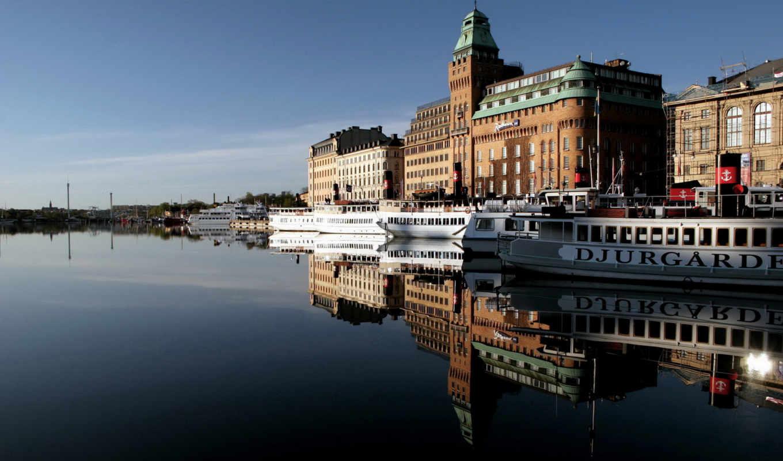 катера, здания, город, набережная, картинка, вода, отражения, architecture,