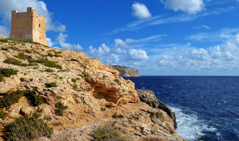 небо, башня, скалы, море,