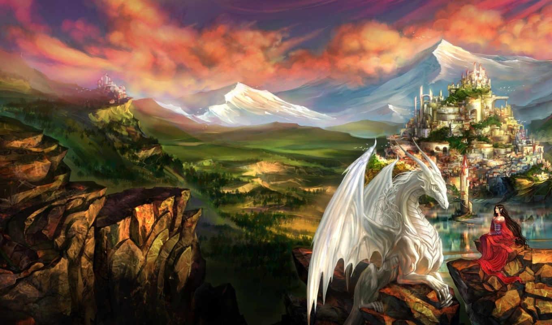 дракон, девушка, фэнтези, драконы, art, коллекция, замок,