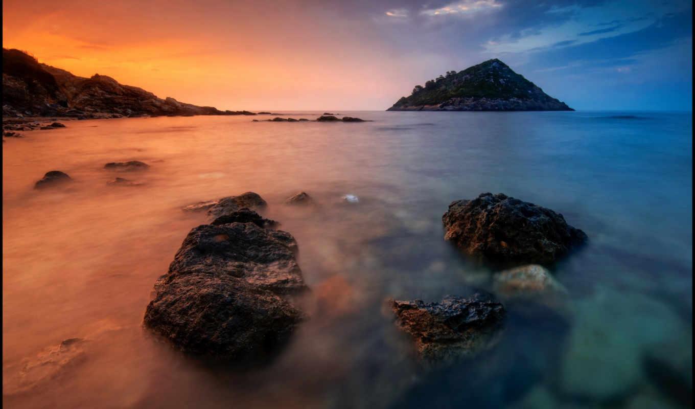 закат, море, камни, пляж, остров,
