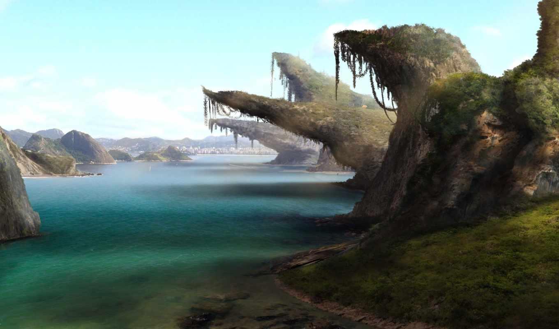 скалы, water, art, озеро, река, landscape, jungle, берег,