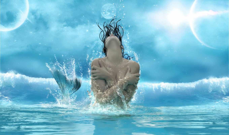 девушка, волна, русалка, июл, новая, всплеск, tail,