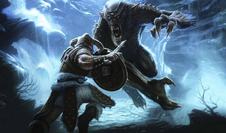 skyrim, elder, scrolls, монстр, битва, воин, игры, game,