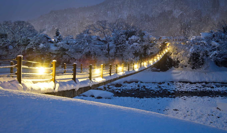 winter, природа, снег, река, разделе, мост,
