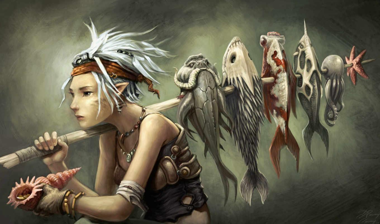 художник, ревуа, палку, david, продает, revoy, devushka, наколотую, рыбу, elfy,
