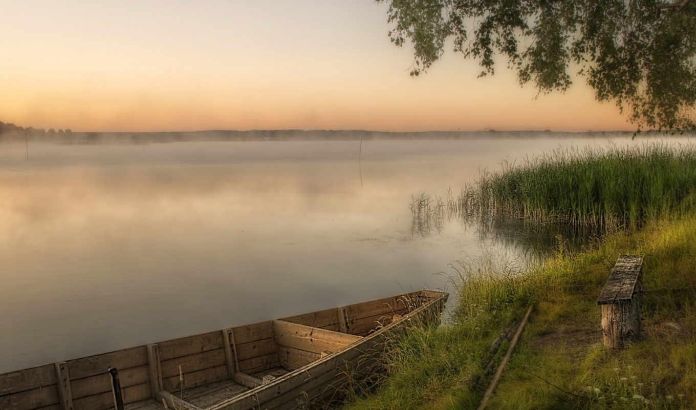 лодка, река, landscape, закат,