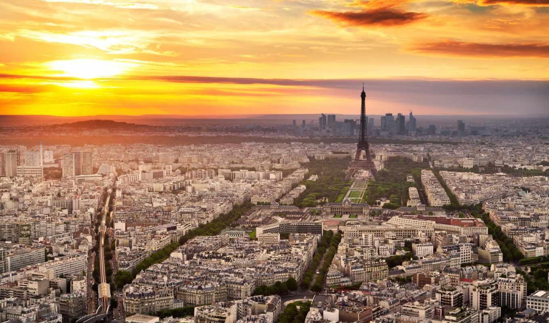 париж, french, эйфелева, turret, город, франция, широкоформатные,