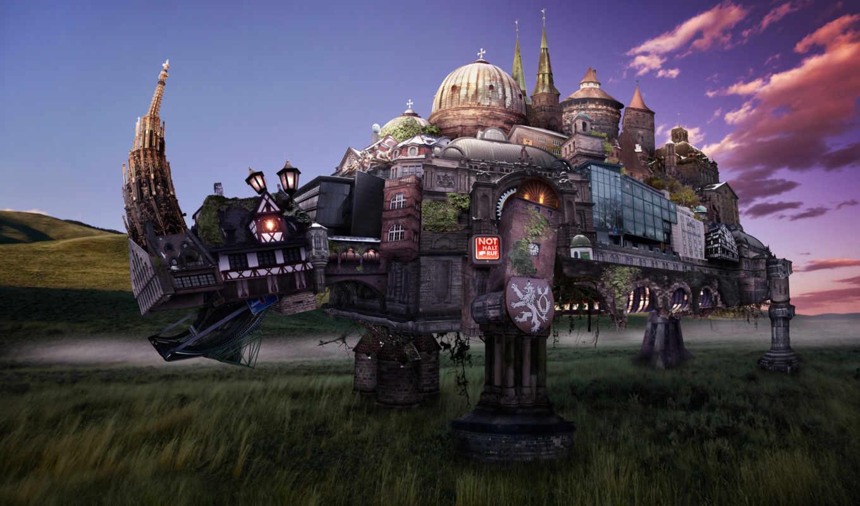 fantasy, город, rhinoceros, здания, landscape, античные, art, кнопкой, правой, картинка, картинку, мыши, городов, геральдика, фантасмагория, трансформеры,