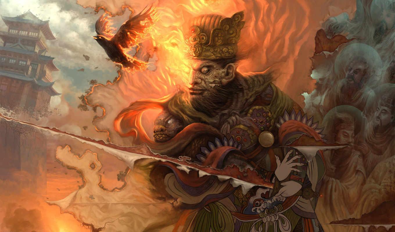 yang, xueguo, меч, порез, ткань, птицы, картина, воин, огонь, china,