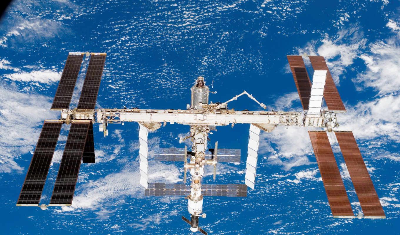 мкс, космоса, земля, станция, орбите, картинка,