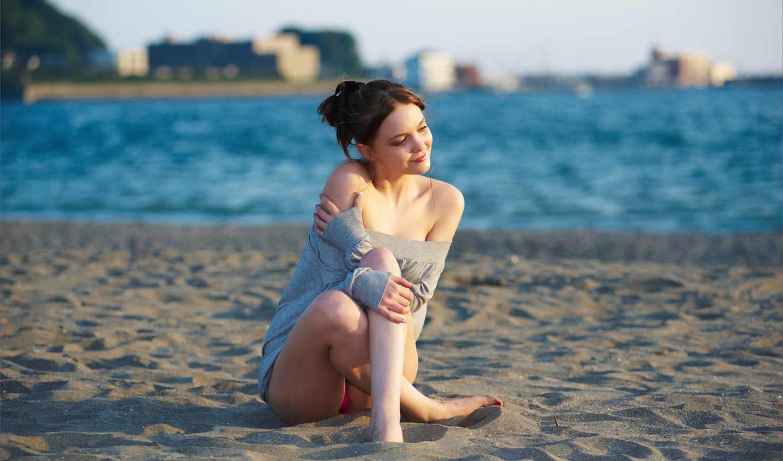 девушки, summer, ветер, пляж,