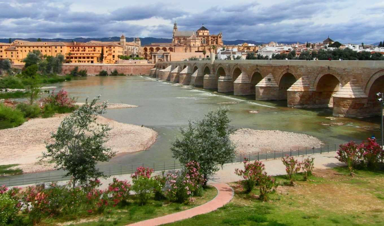 кордова, кордова, испания, андалусия, река, гвадалквивир,