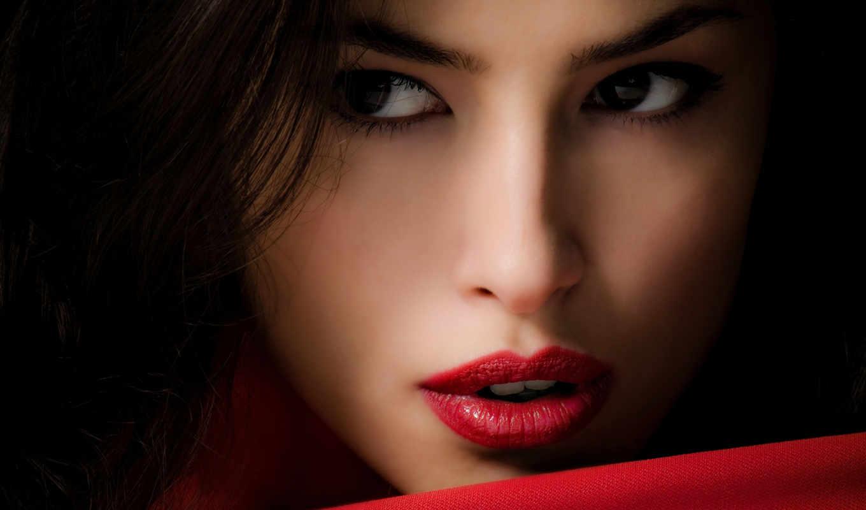 губы, красные, девушка, лицо, шатенка, взгляд,