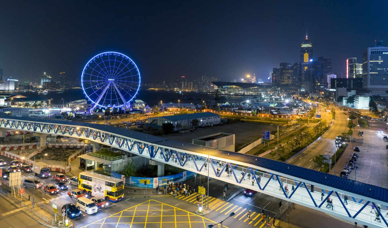 kong, hong, china, город, riesenrad, hongkong, hintergrundbild, zoom,