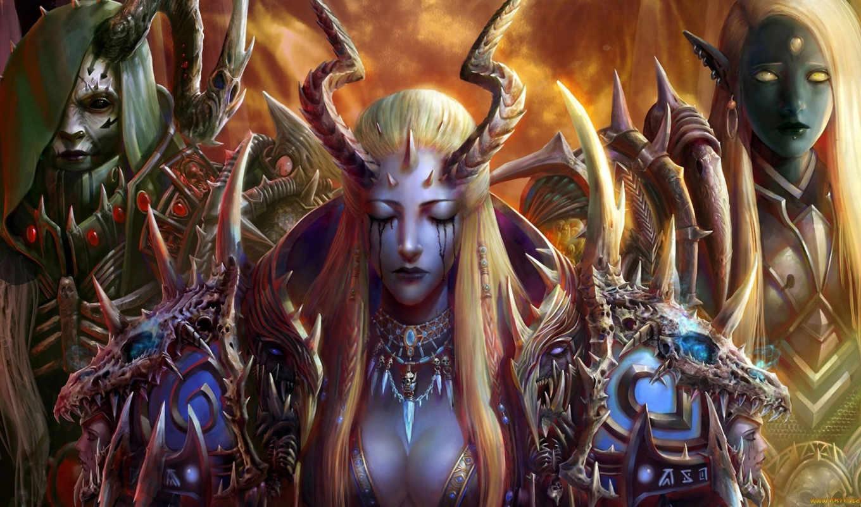 рога, просмотреть, демон, девушки, крылья, существа, шипы, арт,