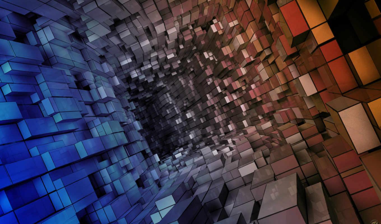 кубов, tunnel, синий, красный, abstract, абстракция, коридор, vista, cubes, состоящий,