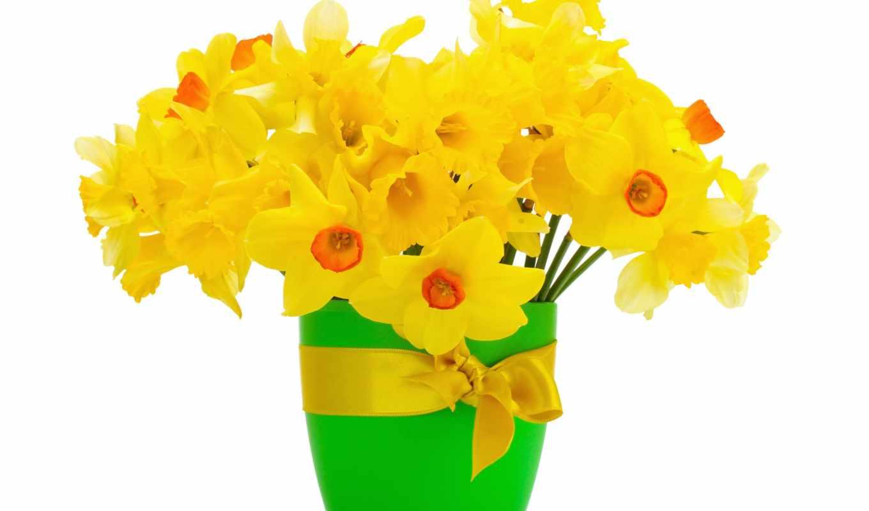 цветы, посмотреть, обою, истинном, нарциссы, чтобы, ваза, праздники, пасха, яйца, размере,