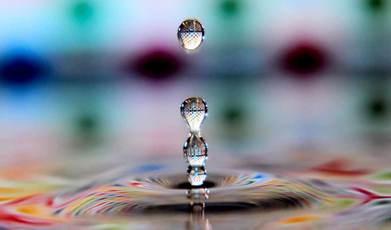 макро, очарование, капля, вода,