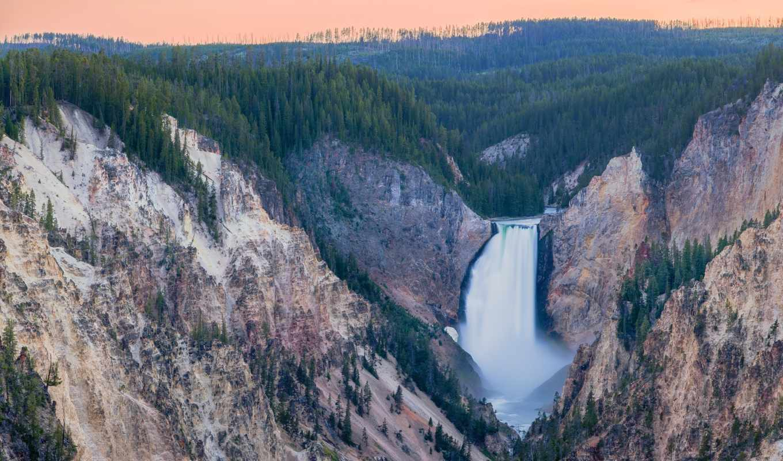 каньон, yellowstone, река, grand, lower, park, falls, national,