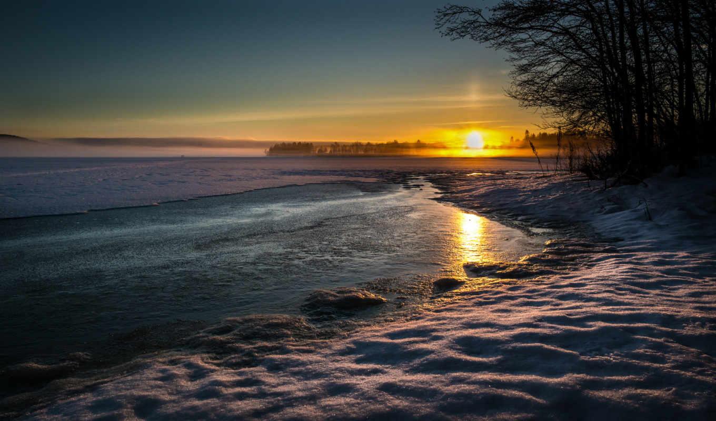 снег, сол, winter, природа, вечер, закат, landscape,