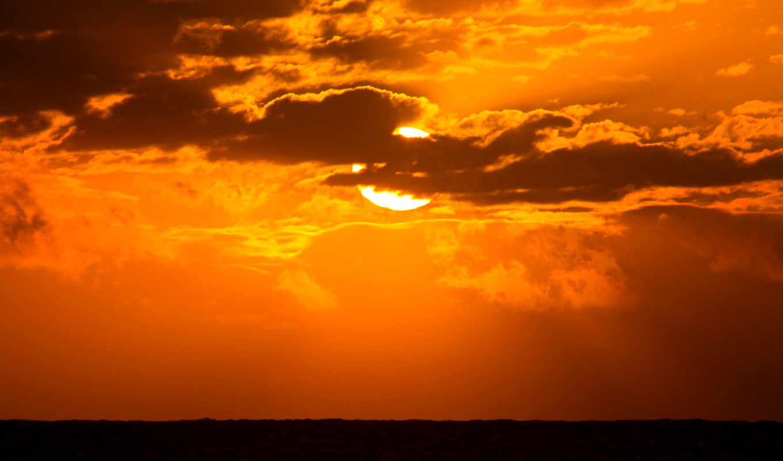 soleil, ecran, coucher, небо, fonds, природа, oblaka, couchers,
