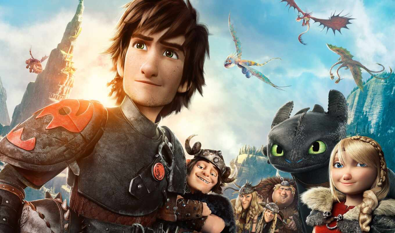 дракон, приручить, сниматься, how, поезд, cartoon, movie, trailer, беззубик