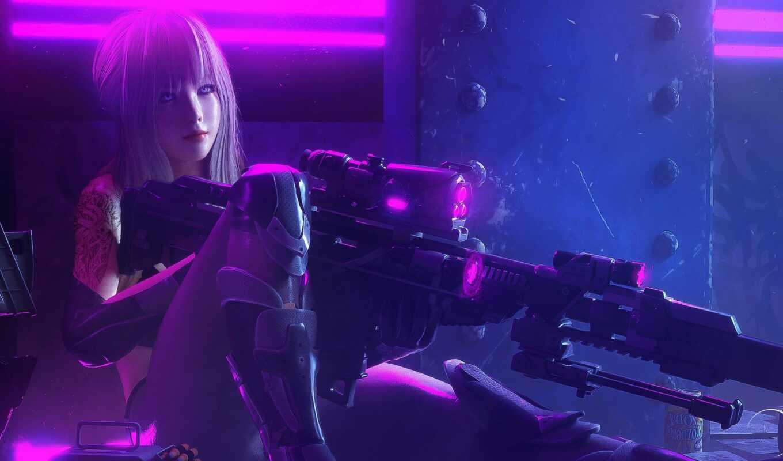 снайпер, девушка, art, digital, fantasy, винтовка, cyberpunk, солдат, artwork, futuristic, fantastic