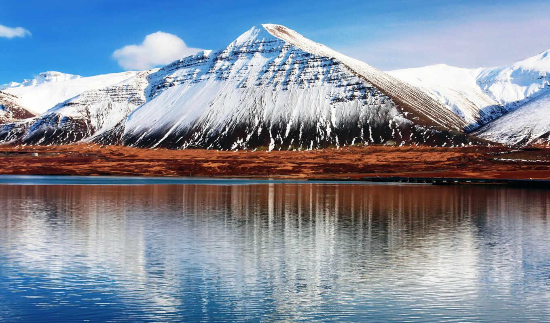 природа, гора, iceland, озеро, norwegian, день, деревня, снег, отражение, water