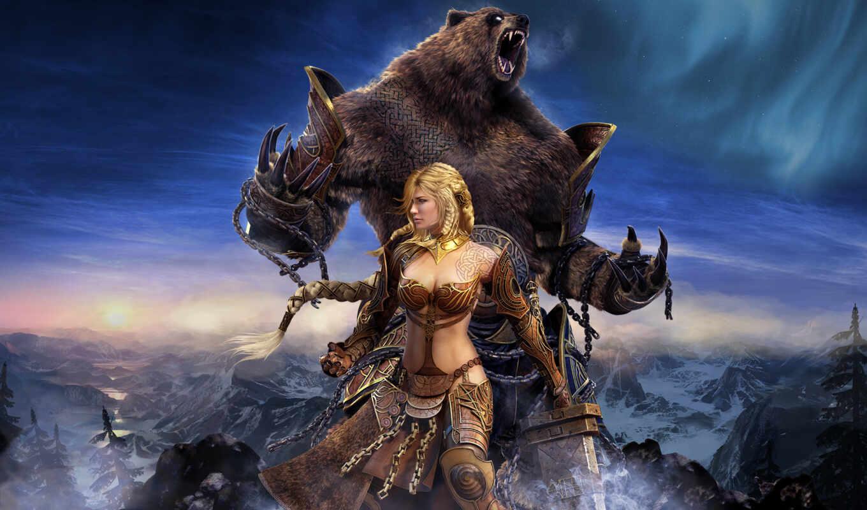 девушка, медведь, guild, фентези, wars, north, eye, widescreen, деталей, game,