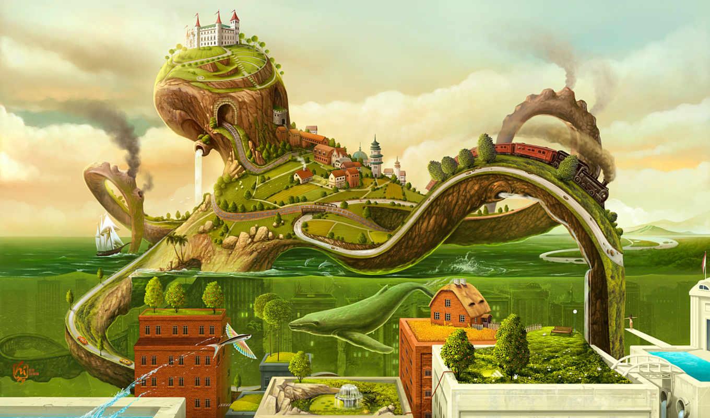 city, octopus, рельсы, паровоз, горки, land, вода, green, tags, google, life, код, картинка, has, фотографии, this, desktop,