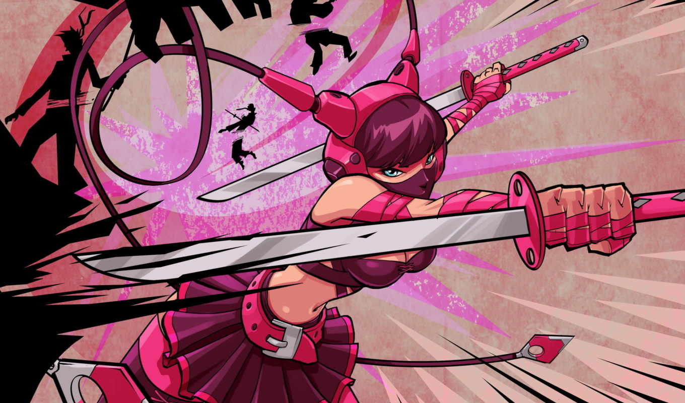 girls, девушка, with, swords, tagnotallowedtoosubjective, cartoons, ниндзя, pink,