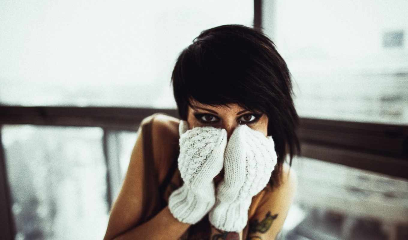 tattoos, brunette, девушка, gloves, preview,