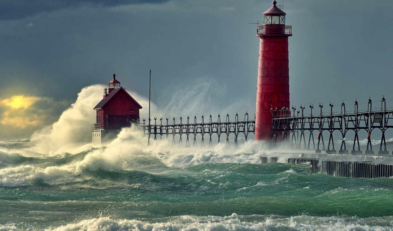 море, маяк, pier, буря, причал, волны, ocean,