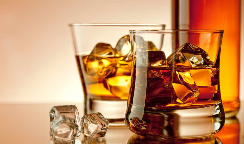 whiskey, напиток, разделе, лед, красивые,