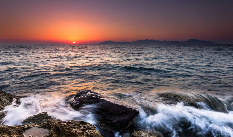 море, дня, закате, небо, sun, закат, камни, горы, разных,