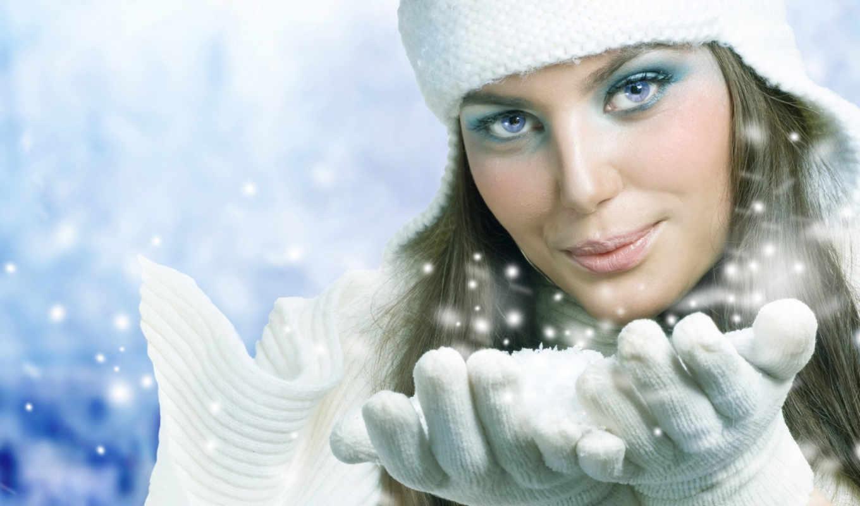 женщина, снег, девушка, blowing, winter,