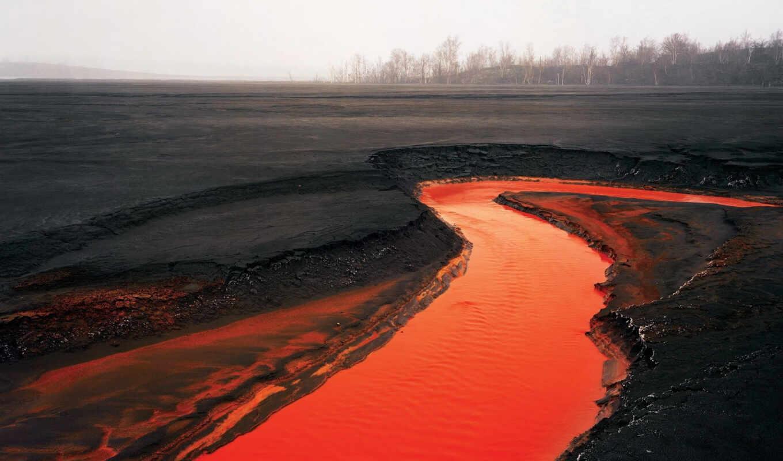 лава, вулкан, река, оранжевая,