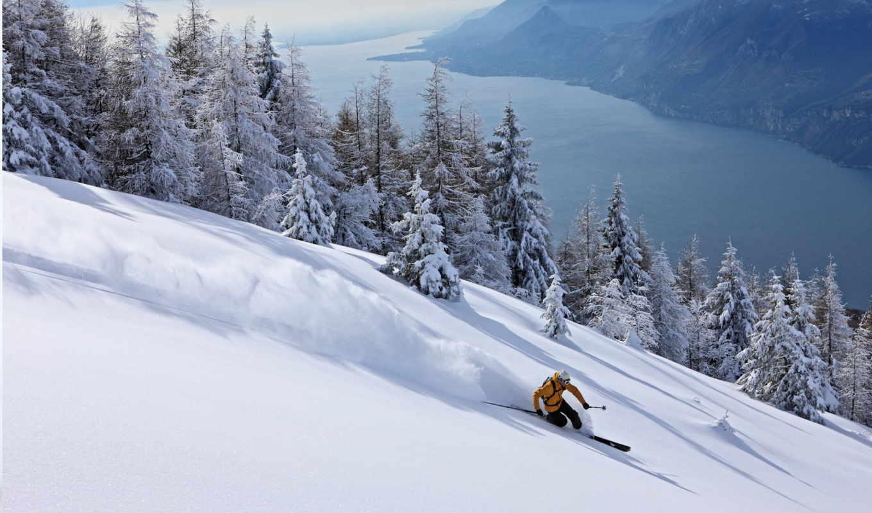 обои, лыжи, снег, лыжник, спорт, горы, спуск, обла