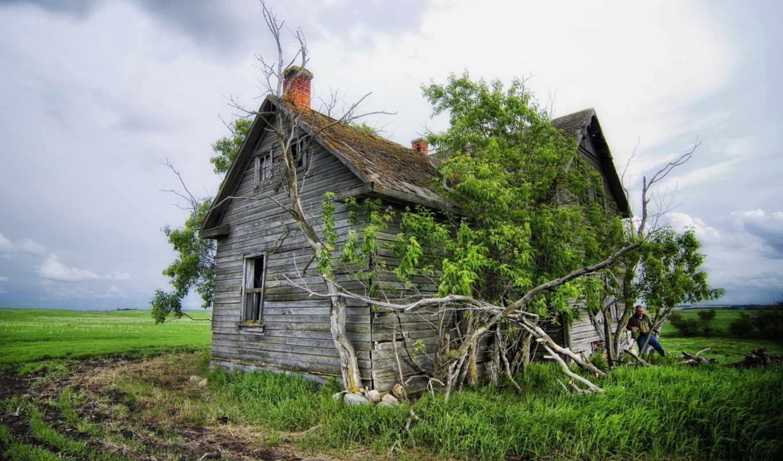 пейзаж, дом, поле, смотрите, картинка, картинку,