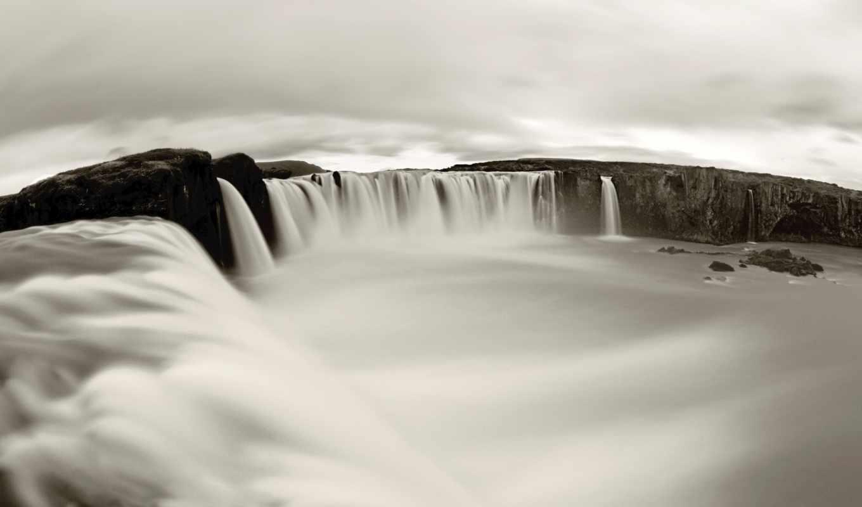 водопад, чёрно, белое, красотища, картинка,