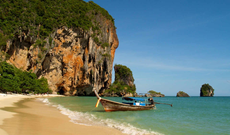 пляж, таиланд, railay, море, лодка, пейзажи -,