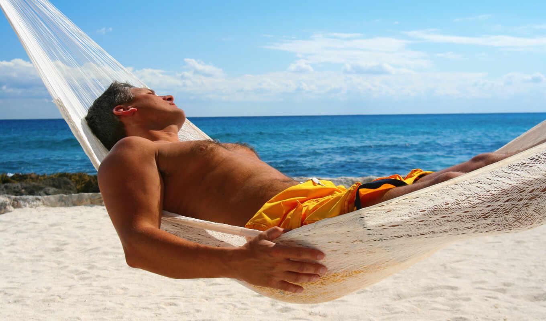 море, мужчина, отдых, пляж, гамак, мужчины, картинка,