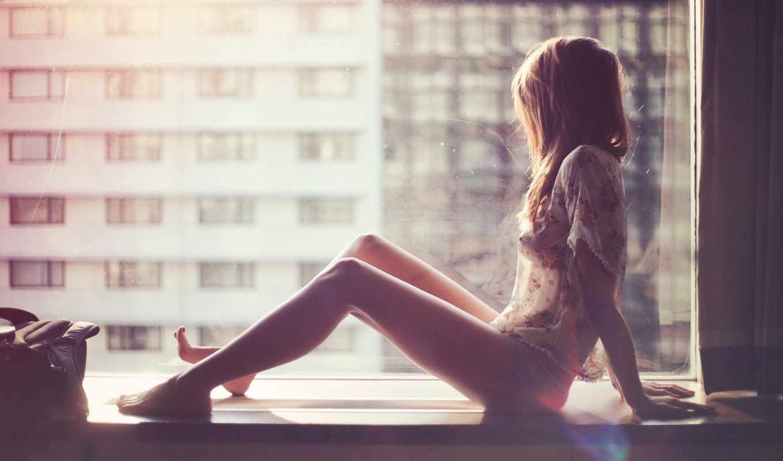 , девушка, окно, секси, ножки,