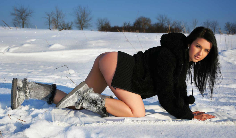 снег, sexy, hot, girls, эротика, women, обнаженная, женщина,