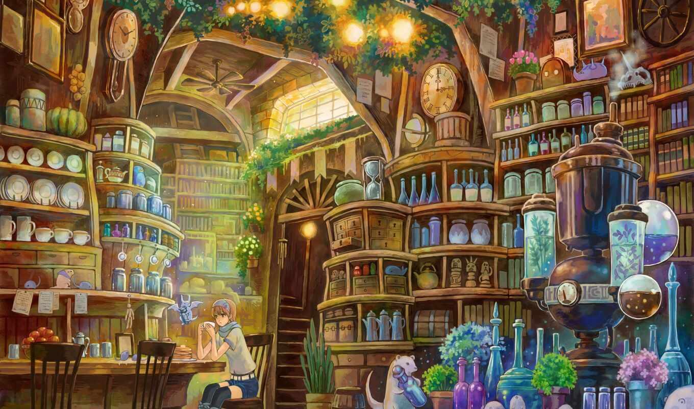 книги, библиотека, девушка, лаборатория, anime, фэнтези, техника, книга, art,