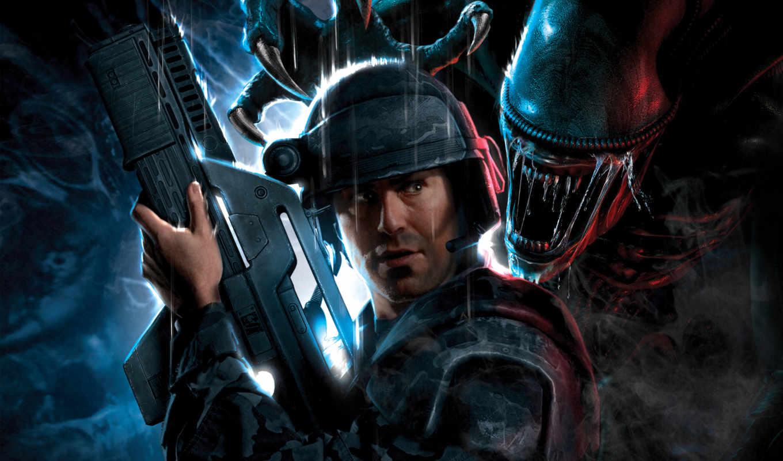 aliens, marines, colonial, alien, игры, video, game, games, rus, от,