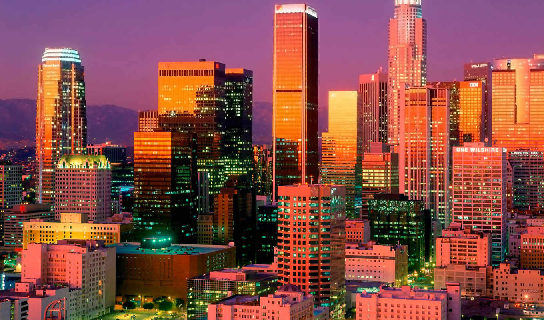 angeles, los, city, небоскребы, анджелес, para, мегаполис, buildings, night, downtown, california,