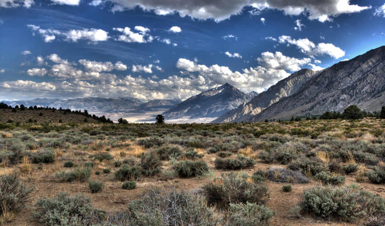 горы, oblaka, plain, трава, картинка, hdr,