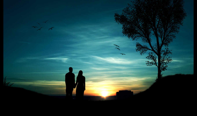 парень, девушка, закат, небо, sun, дерево, птицы,